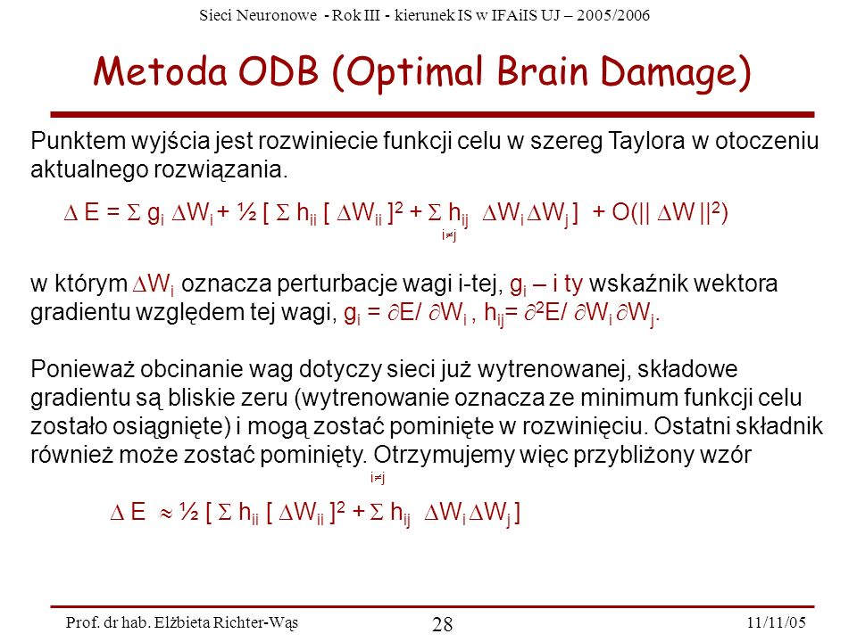 Metoda ODB (Optimal Brain Damage)