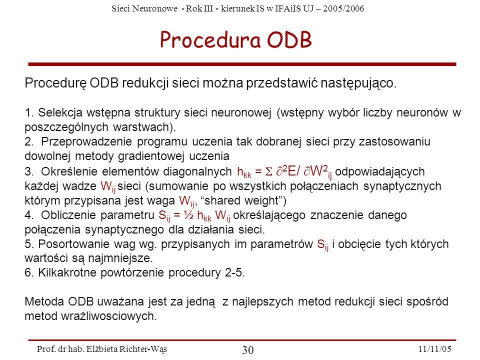 Procedura ODB Procedurę ODB redukcji sieci można przedstawić następująco.