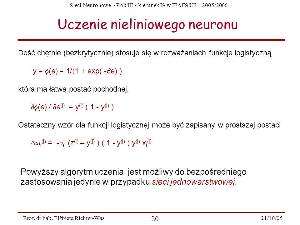 Uczenie nieliniowego neuronu