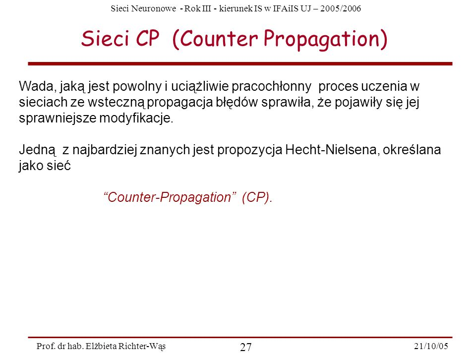 Sieci CP (Counter Propagation)