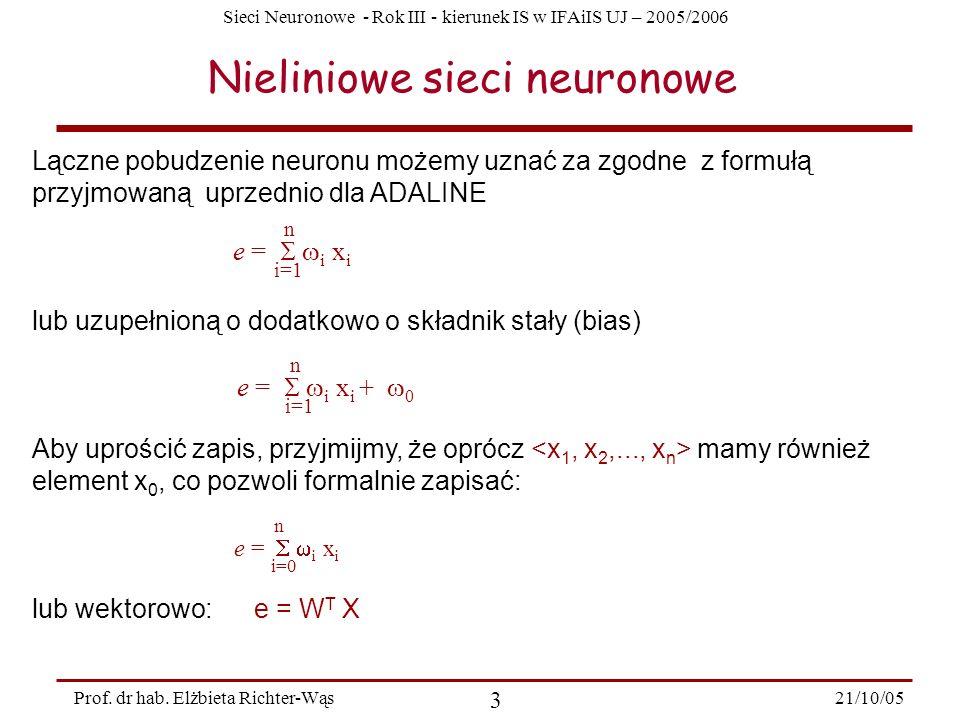 Nieliniowe sieci neuronowe