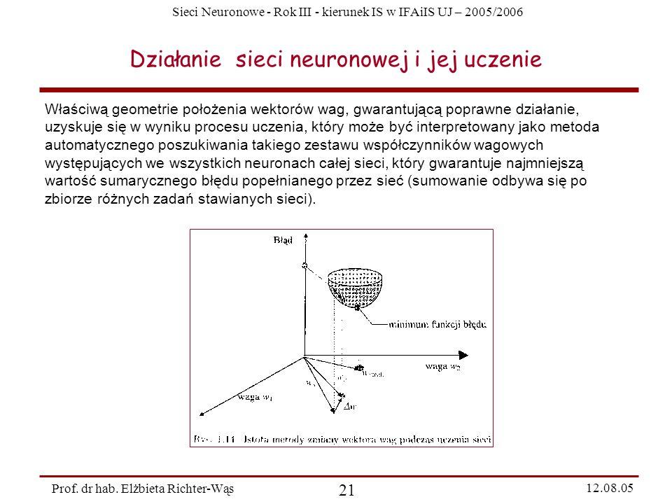 Działanie sieci neuronowej i jej uczenie