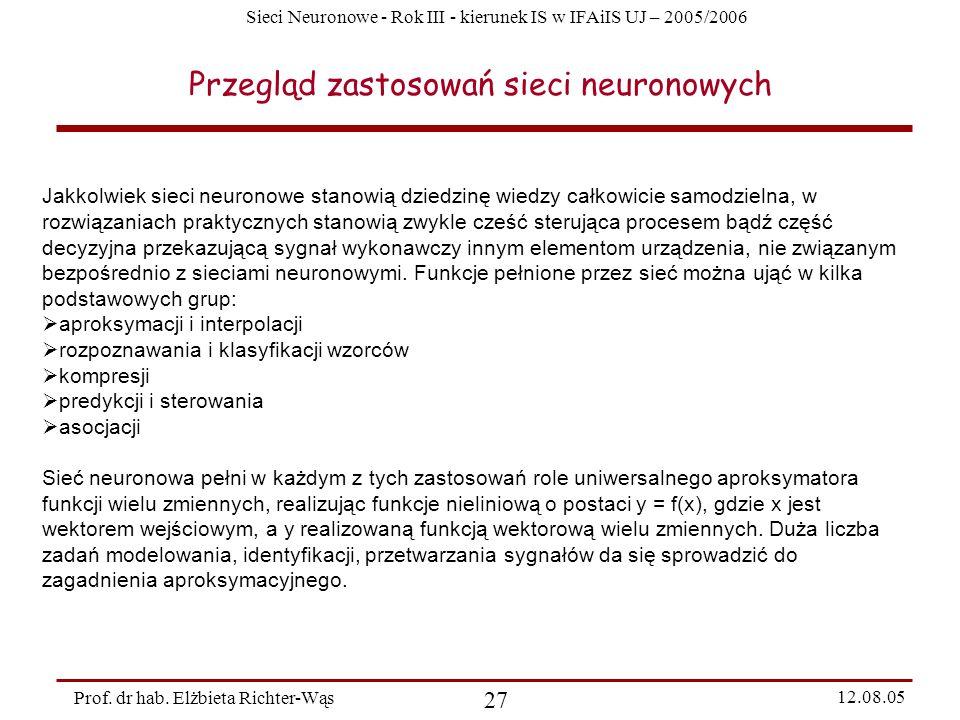 Przegląd zastosowań sieci neuronowych