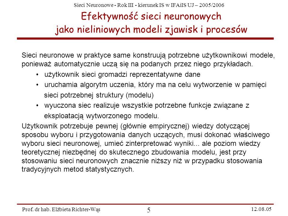 Efektywność sieci neuronowych jako nieliniowych modeli zjawisk i procesów