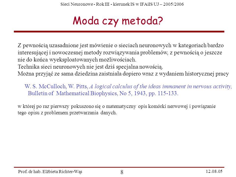 Moda czy metoda Z pewnością uzasadnione jest mówienie o sieciach neuronowych w kategoriach bardzo.