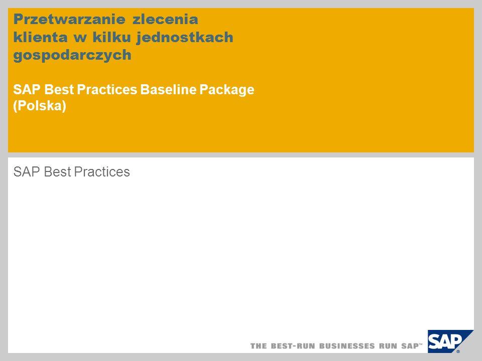 Przetwarzanie zlecenia klienta w kilku jednostkach gospodarczych SAP Best Practices Baseline Package (Polska)