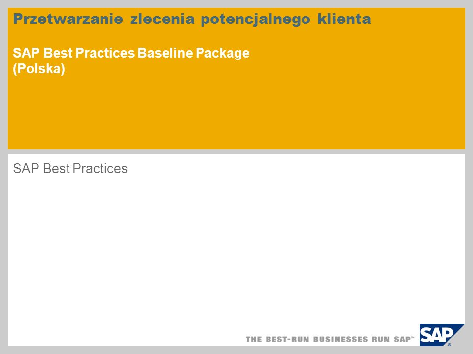 Przetwarzanie zlecenia potencjalnego klienta SAP Best Practices Baseline Package (Polska)
