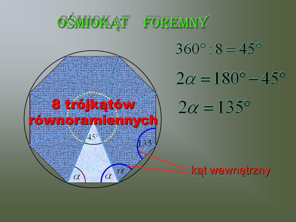 OŚMIOKĄT FOREMNY 8 trójkątów równoramiennych kąt wewnętrzny