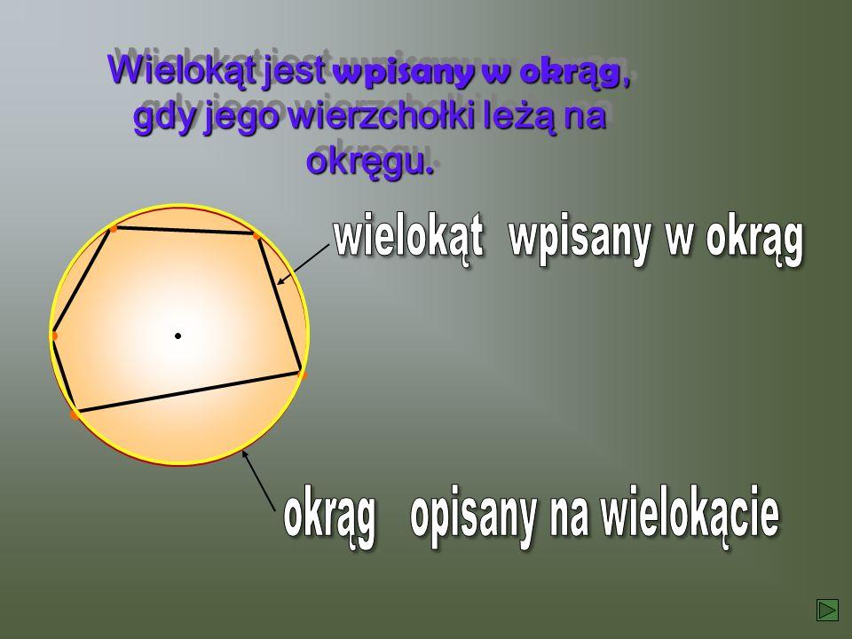 Wielokąt jest wpisany w okrąg, gdy jego wierzchołki leżą na okręgu.