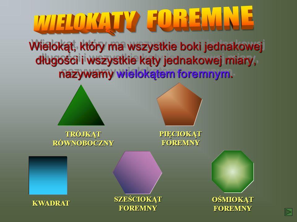 WIELOKĄTY FOREMNE Wielokąt, który ma wszystkie boki jednakowej długości i wszystkie kąty jednakowej miary, nazywamy wielokątem foremnym.