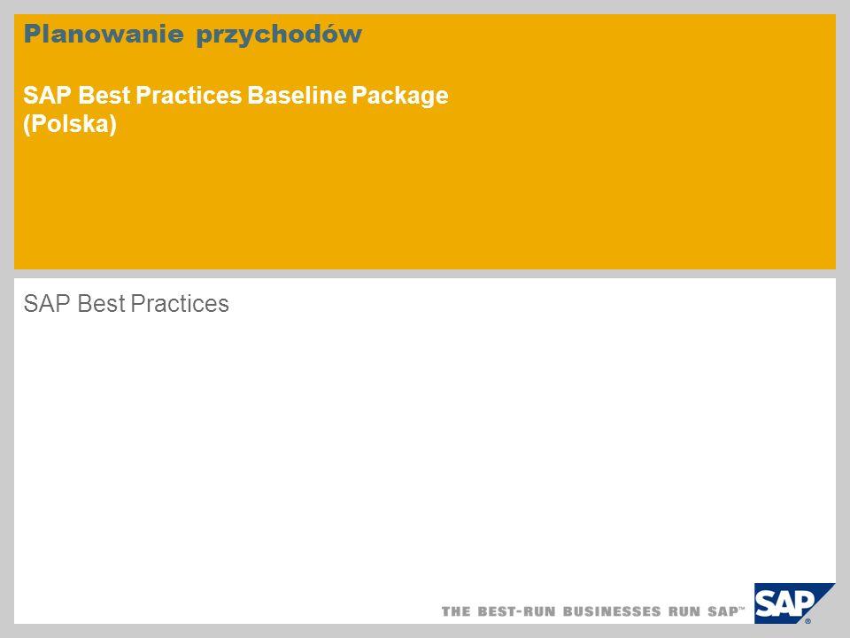 Planowanie przychodów SAP Best Practices Baseline Package (Polska)
