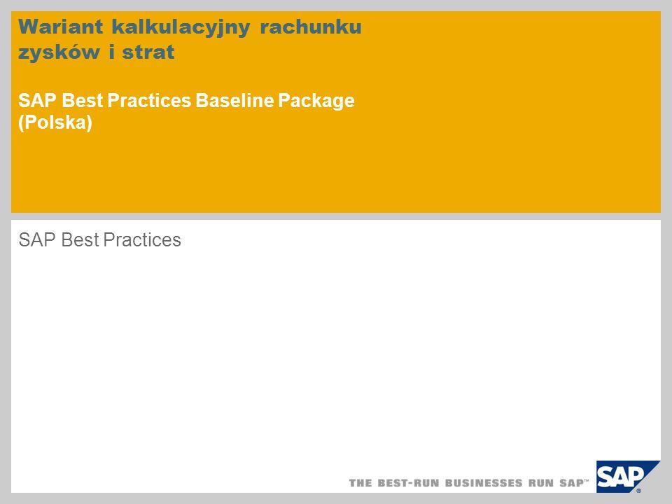 Wariant kalkulacyjny rachunku zysków i strat SAP Best Practices Baseline Package (Polska)