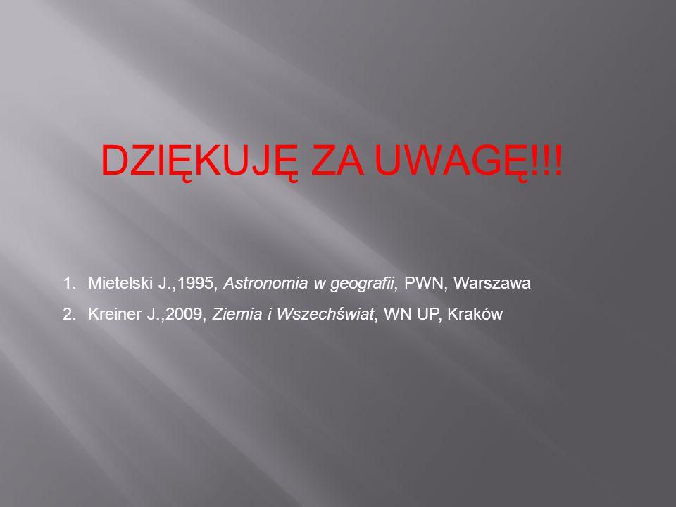 DZIĘKUJĘ ZA UWAGĘ!!. Mietelski J.,1995, Astronomia w geografii, PWN, Warszawa.