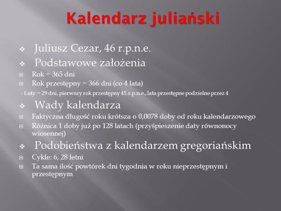 Kalendarz juliański Juliusz Cezar, 46 r.p.n.e. Podstawowe założenia