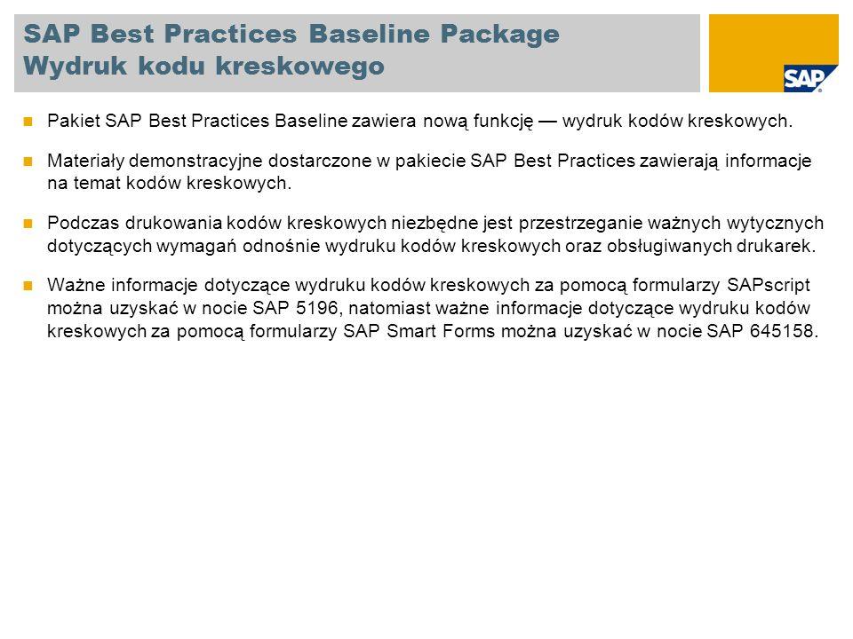 SAP Best Practices Baseline Package Wydruk kodu kreskowego