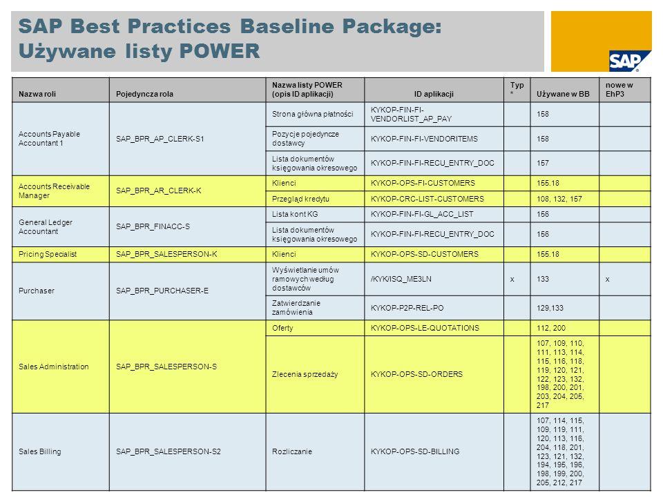 SAP Best Practices Baseline Package: Używane listy POWER