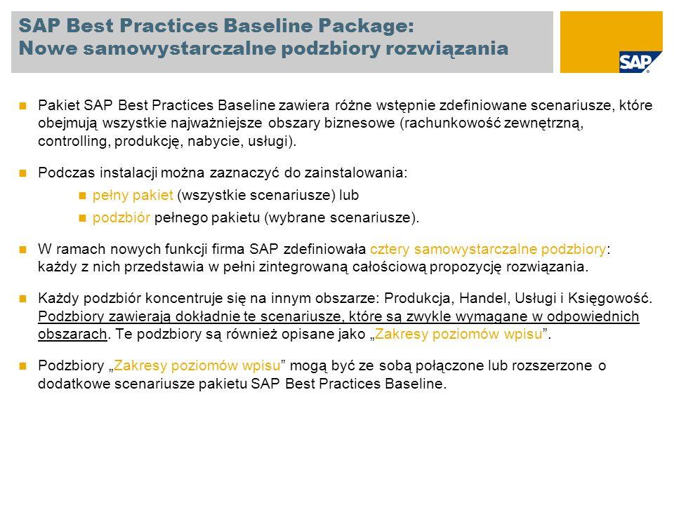 SAP Best Practices Baseline Package: Nowe samowystarczalne podzbiory rozwiązania