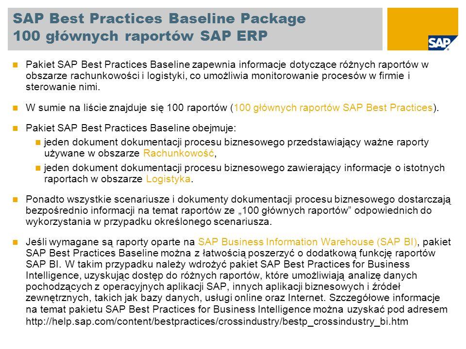SAP Best Practices Baseline Package 100 głównych raportów SAP ERP