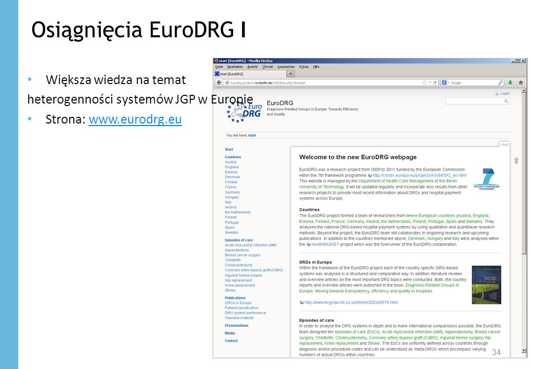 Osiągnięcia EuroDRG I Większa wiedza na temat