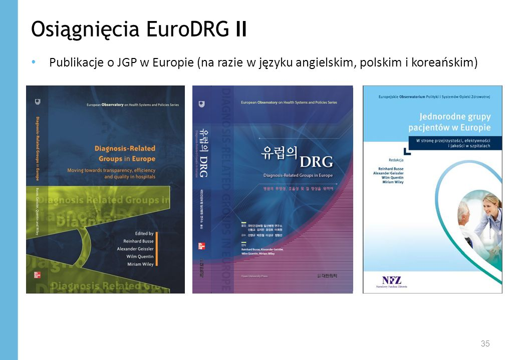 Osiągnięcia EuroDRG II