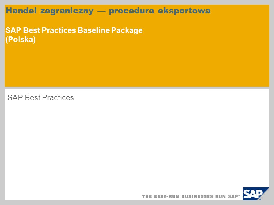 Handel zagraniczny — procedura eksportowa SAP Best Practices Baseline Package (Polska)