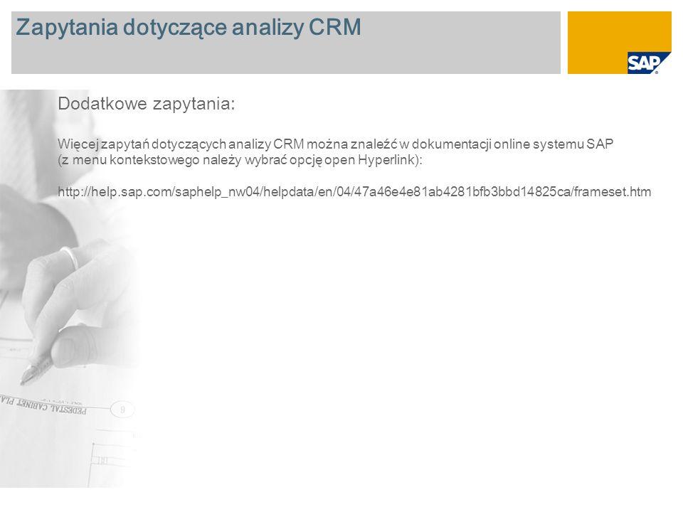 Zapytania dotyczące analizy CRM