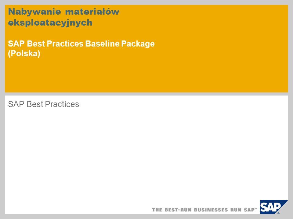 Nabywanie materiałów eksploatacyjnych SAP Best Practices Baseline Package (Polska)