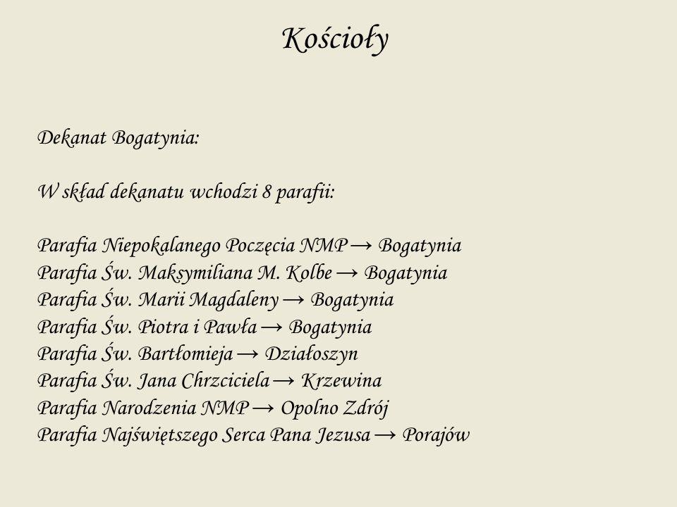 Kościoły Dekanat Bogatynia: W skład dekanatu wchodzi 8 parafii: