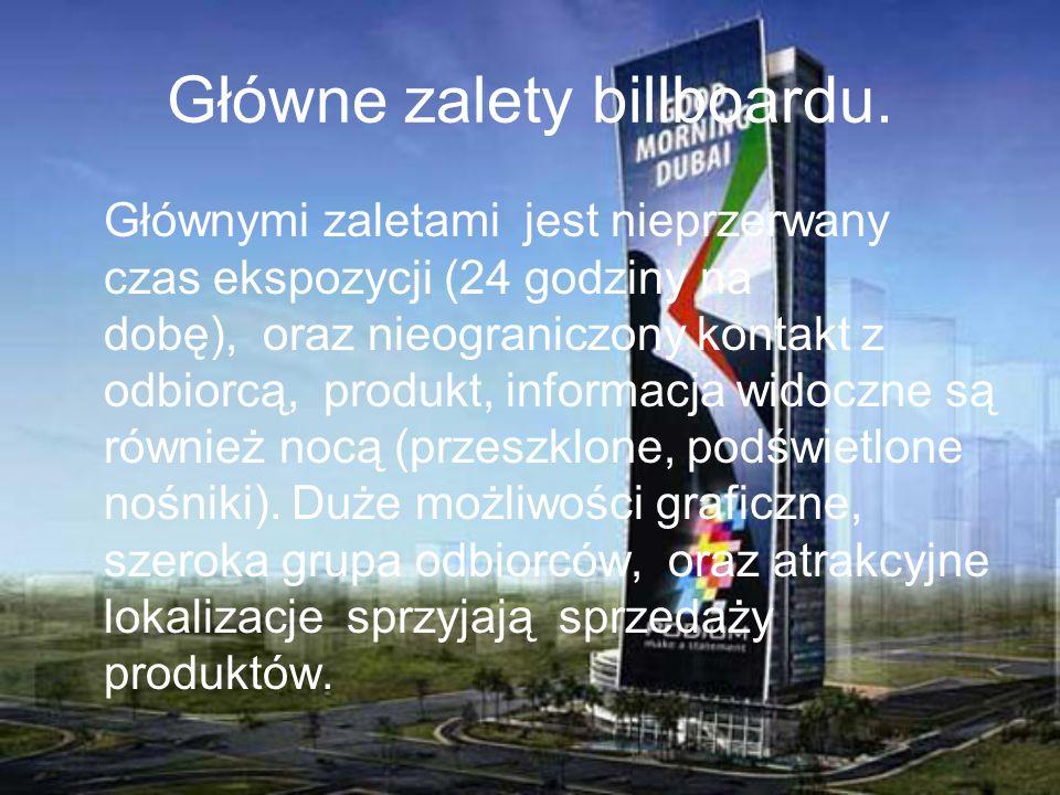 Główne zalety billboardu.