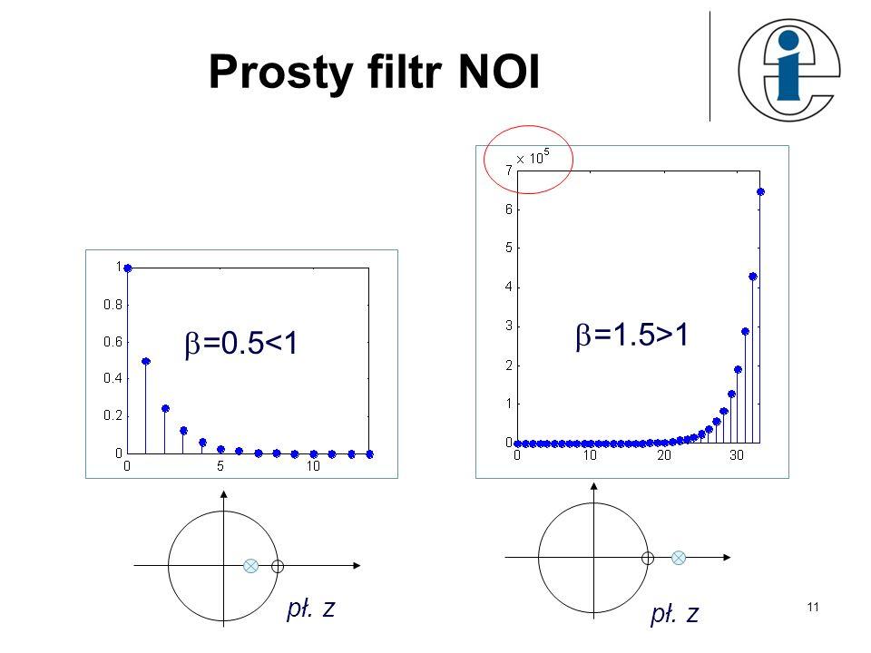 Prosty filtr NOI =0.5<1 pł. z =1.5>1 pł. z 11
