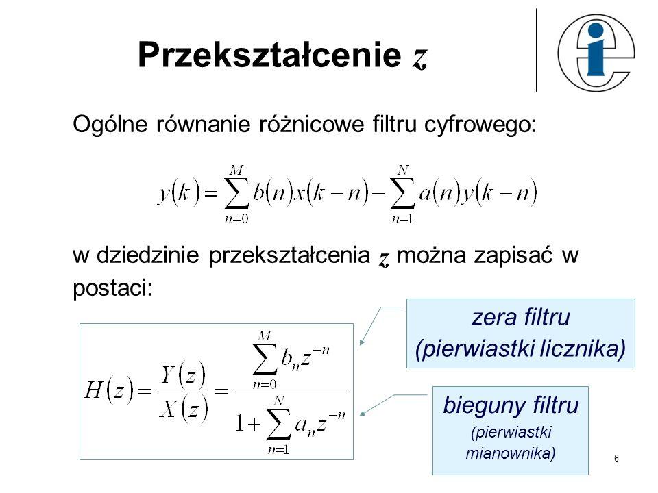 Przekształcenie z Ogólne równanie różnicowe filtru cyfrowego: