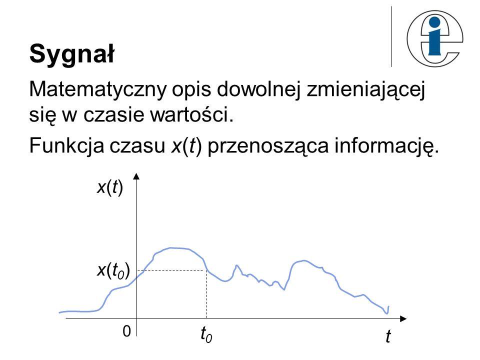Sygnał Matematyczny opis dowolnej zmieniającej się w czasie wartości.