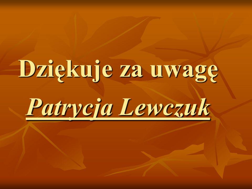 Dziękuje za uwagę Patrycja Lewczuk
