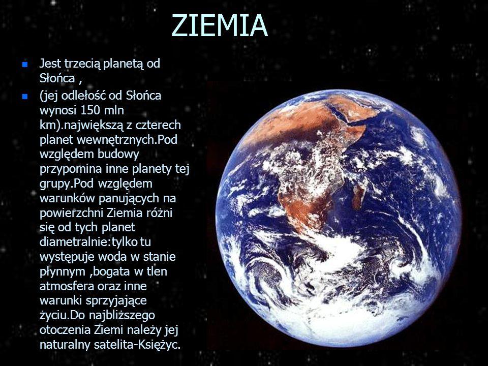 ZIEMIA Jest trzecią planetą od Słońca ,