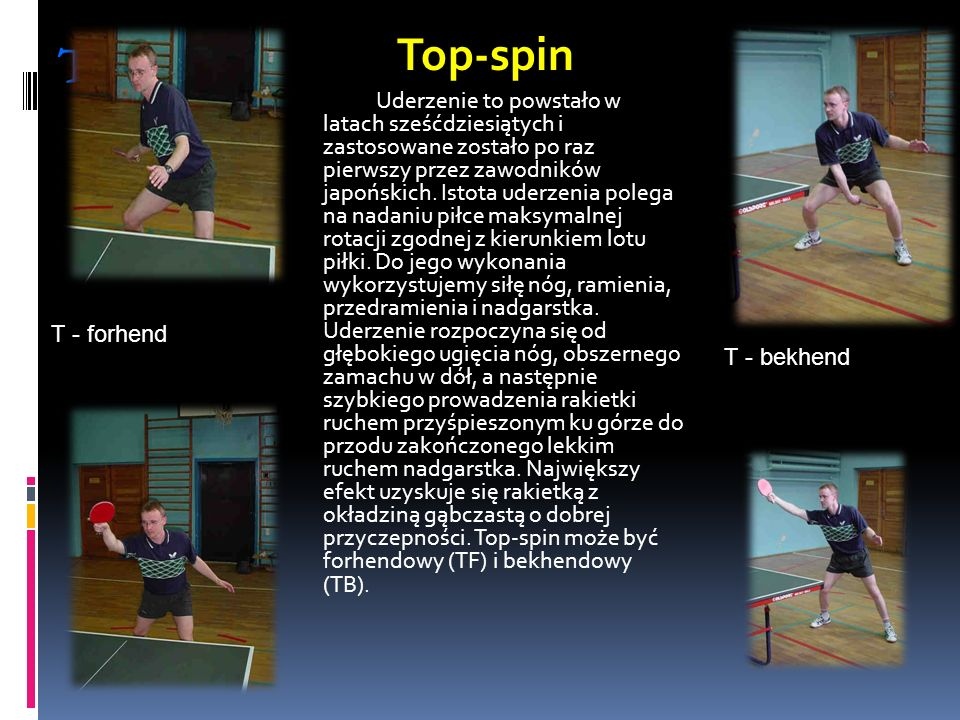 Top - spin Top-spin T - forhend T - bekhend