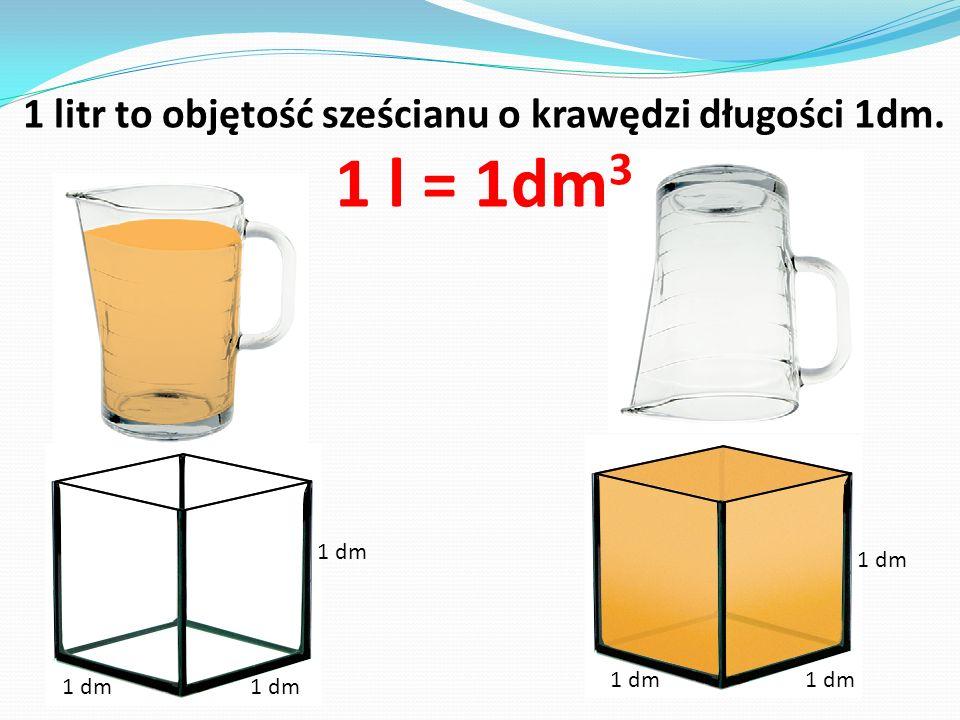 1 litr to objętość sześcianu o krawędzi długości 1dm.
