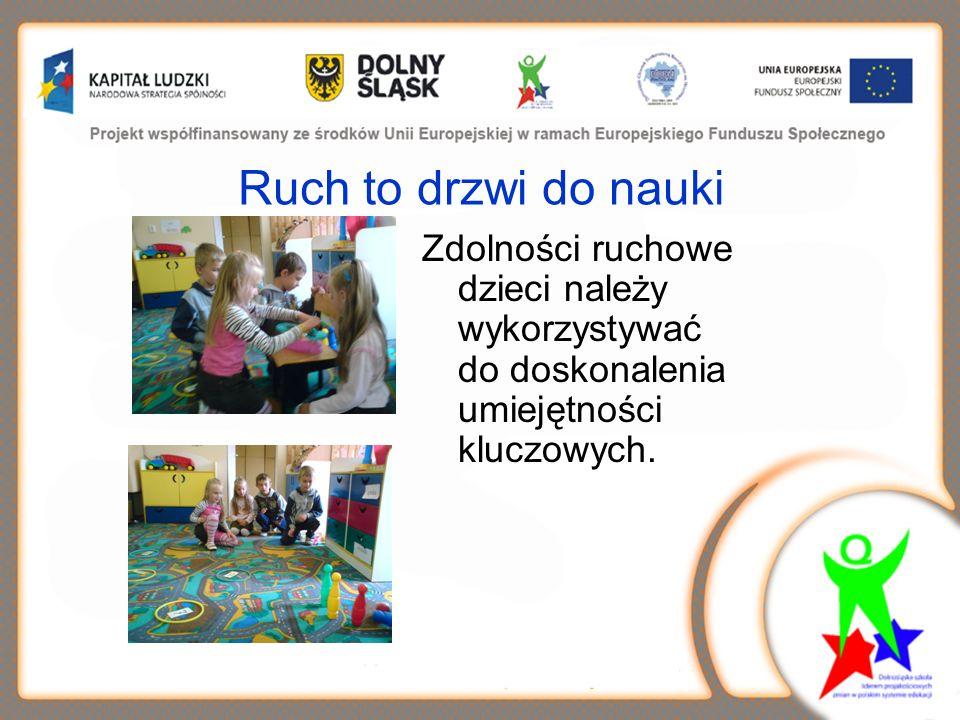 Ruch to drzwi do nauki Zdolności ruchowe dzieci należy wykorzystywać do doskonalenia umiejętności kluczowych.