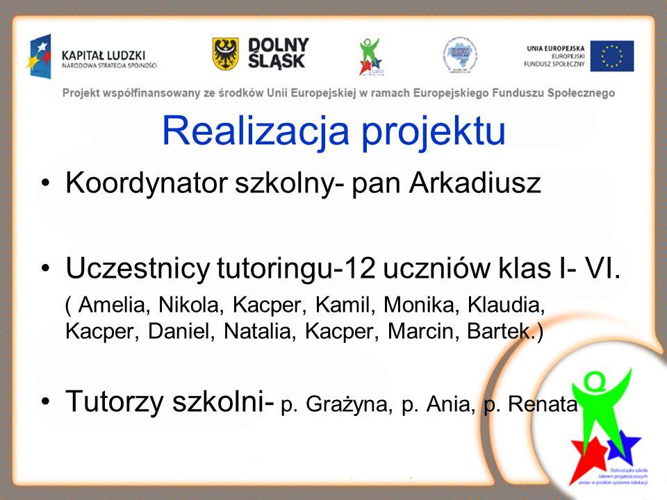 Realizacja projektu Koordynator szkolny- pan Arkadiusz