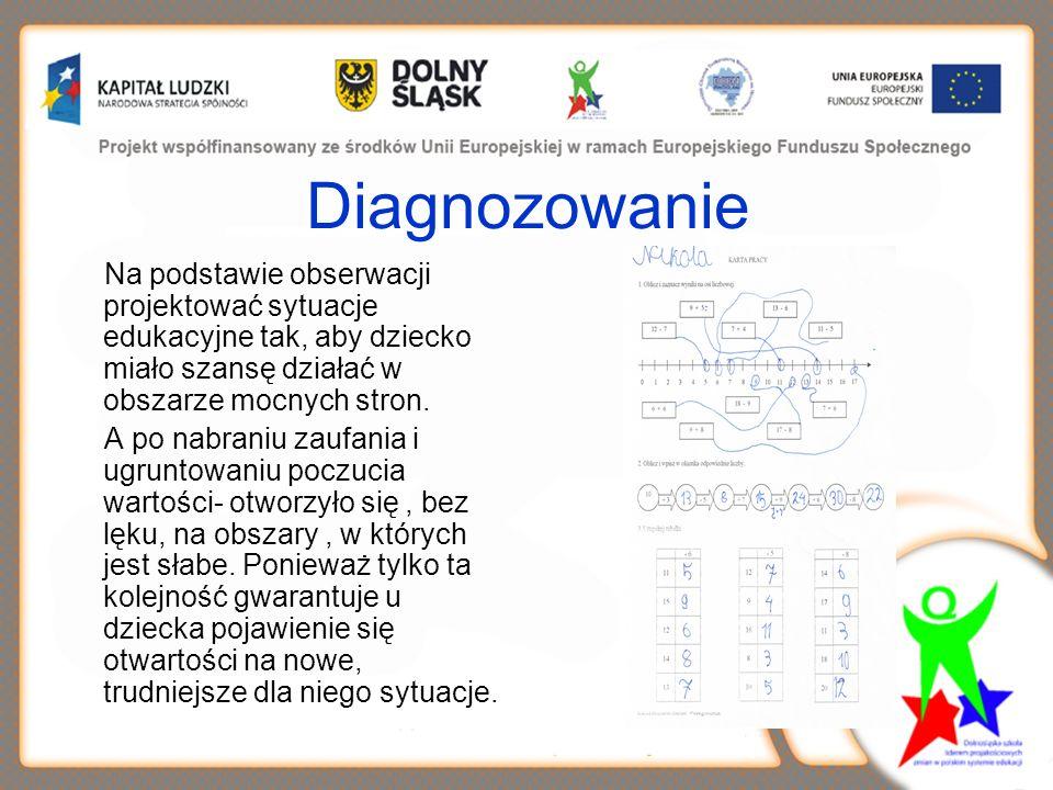 Diagnozowanie Na podstawie obserwacji projektować sytuacje edukacyjne tak, aby dziecko miało szansę działać w obszarze mocnych stron.