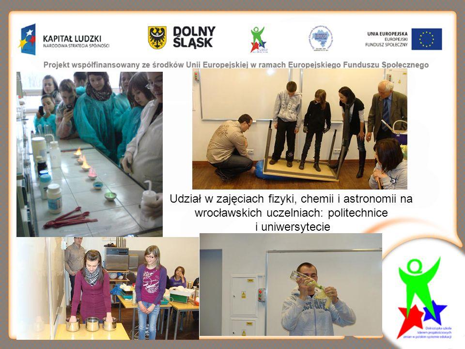 Udział w zajęciach fizyki, chemii i astronomii na wrocławskich uczelniach: politechnice