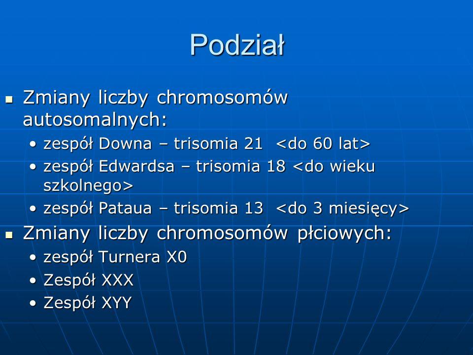 Podział Zmiany liczby chromosomów autosomalnych:
