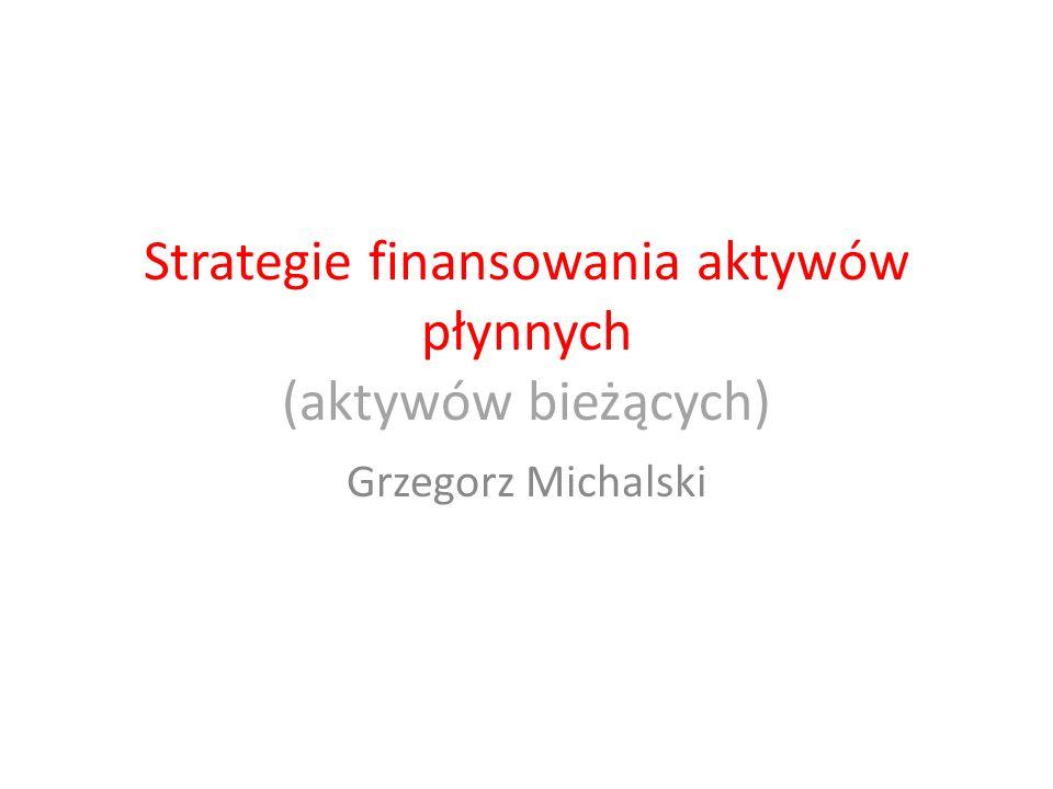 Strategie finansowania aktywów płynnych (aktywów bieżących)