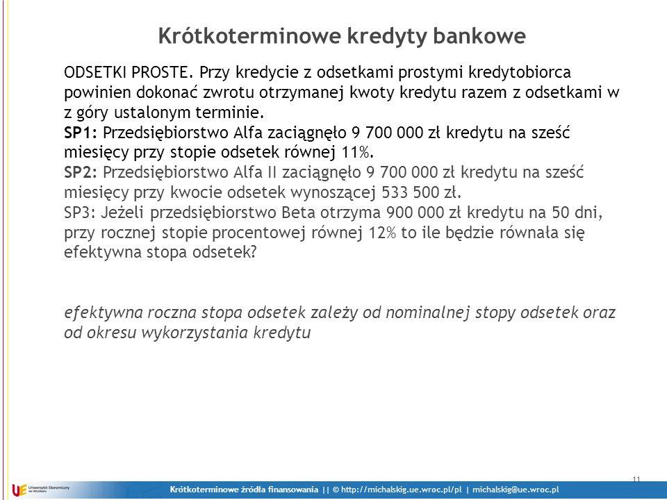 Krótkoterminowe kredyty bankowe