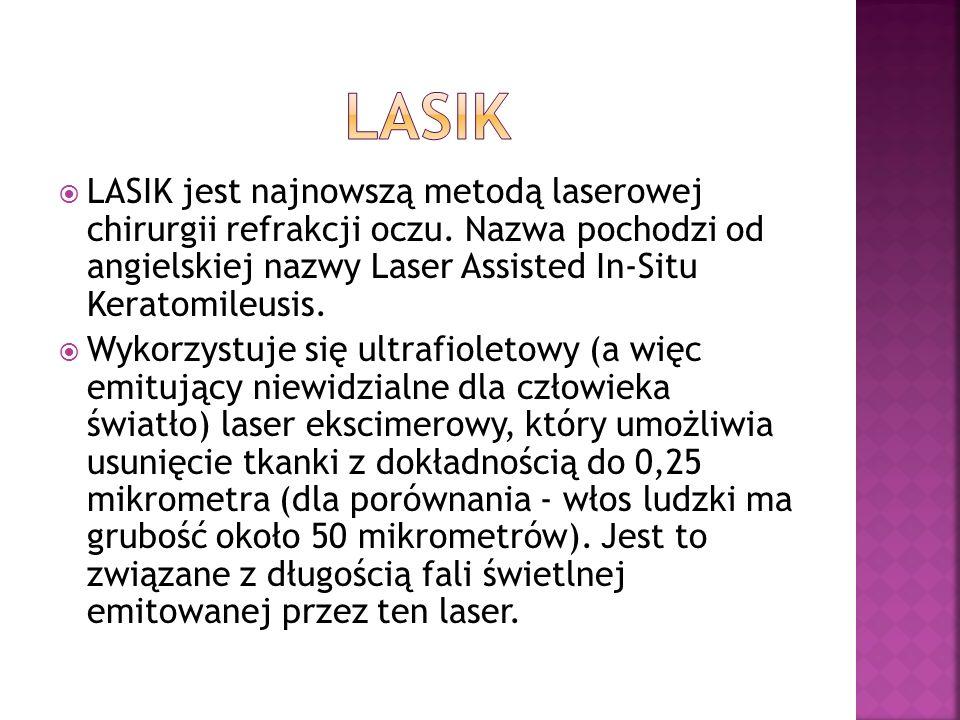 LASIK LASIK jest najnowszą metodą laserowej chirurgii refrakcji oczu. Nazwa pochodzi od angielskiej nazwy Laser Assisted In-Situ Keratomileusis.