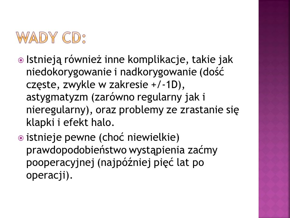Wady cd: