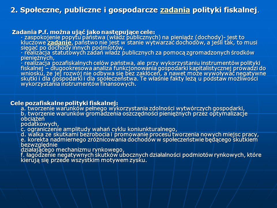 2. Społeczne, publiczne i gospodarcze zadania polityki fiskalnej.