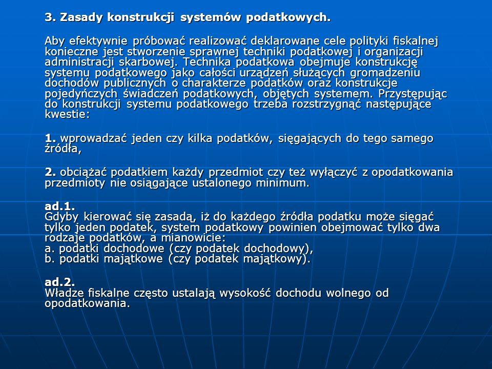 3. Zasady konstrukcji systemów podatkowych.