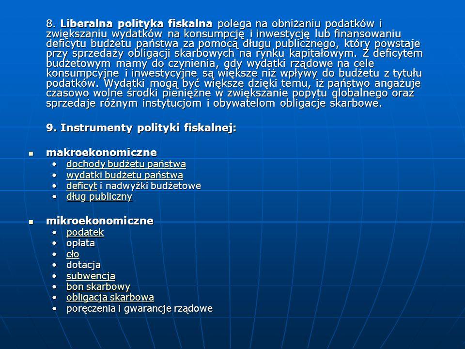 9. Instrumenty polityki fiskalnej: makroekonomiczne