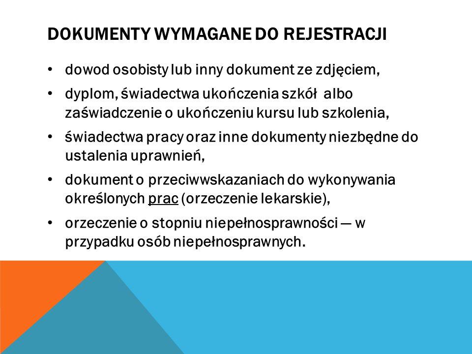 Dokumenty wymagane do rejestracji