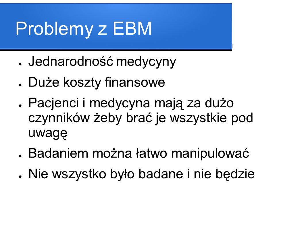 Problemy z EBM Jednarodność medycyny Duże koszty finansowe
